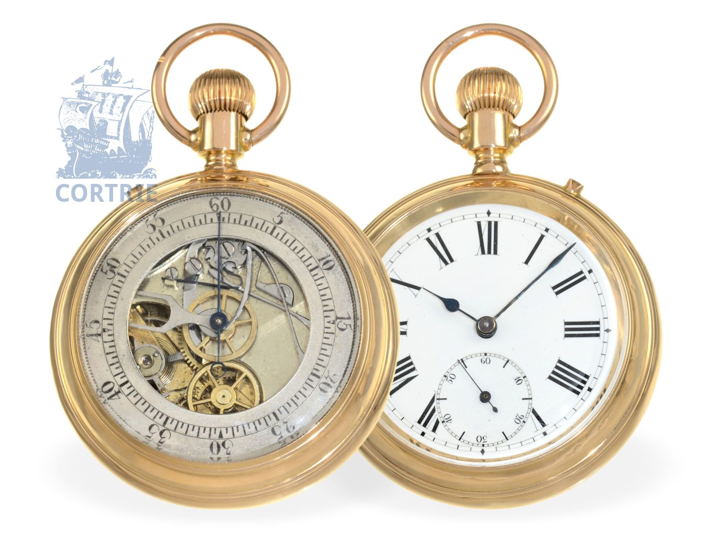 Pocket watch: early pink gold double face pocket watch chronograph, Switzerland ca. 1870-