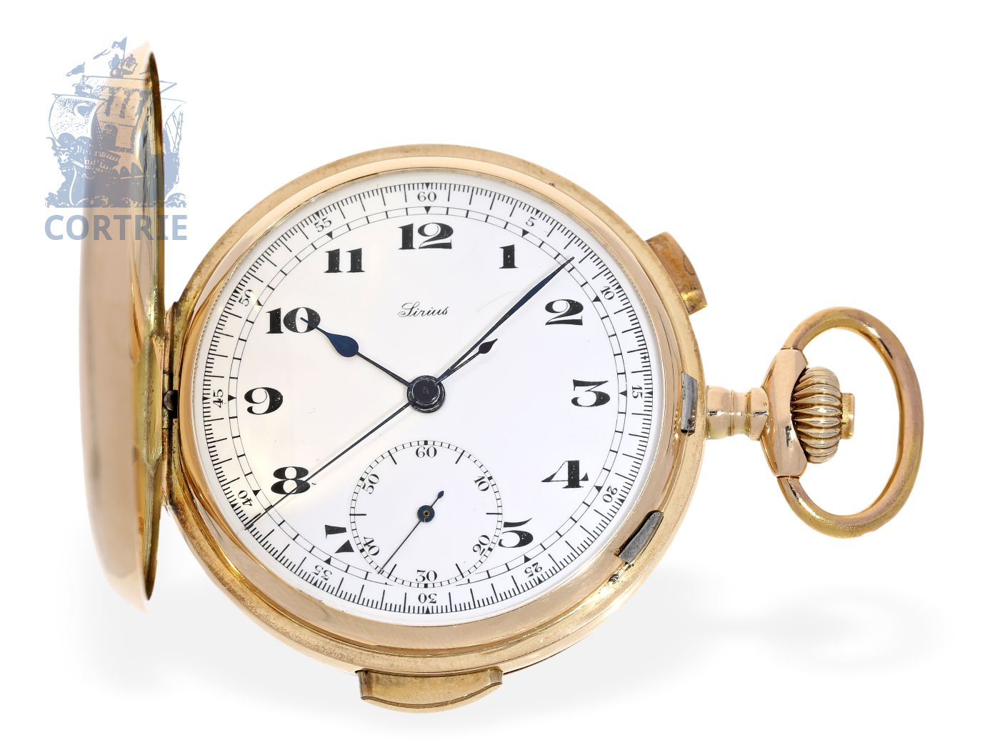 Pocket watch: fine Swiss pink gold hunting case minute repeater with chronograph, ca. 1920-