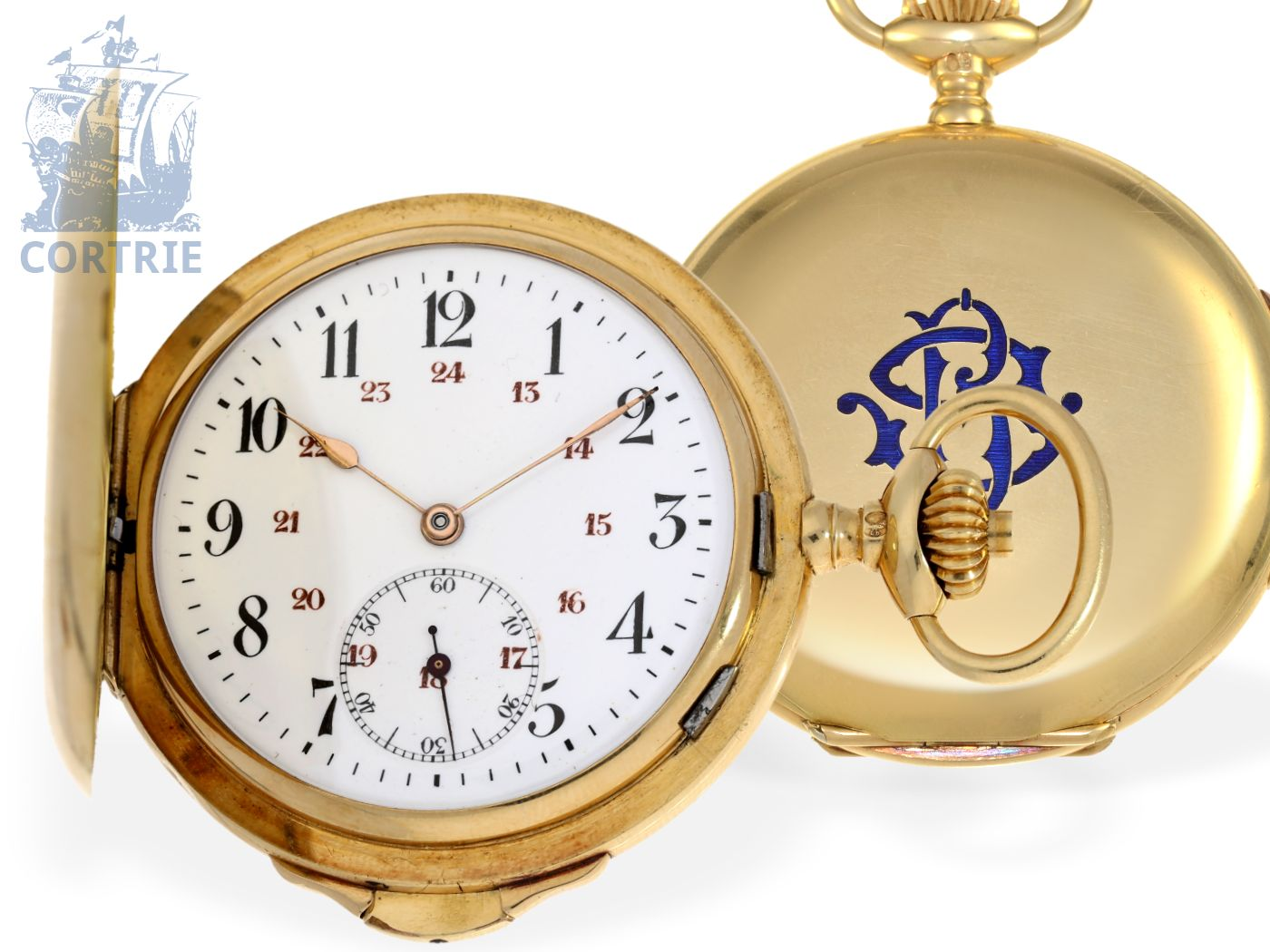 Pocket watch: rare and small gold hunting case repeater, interesting movement, Switzerland/France, ca. 1900-