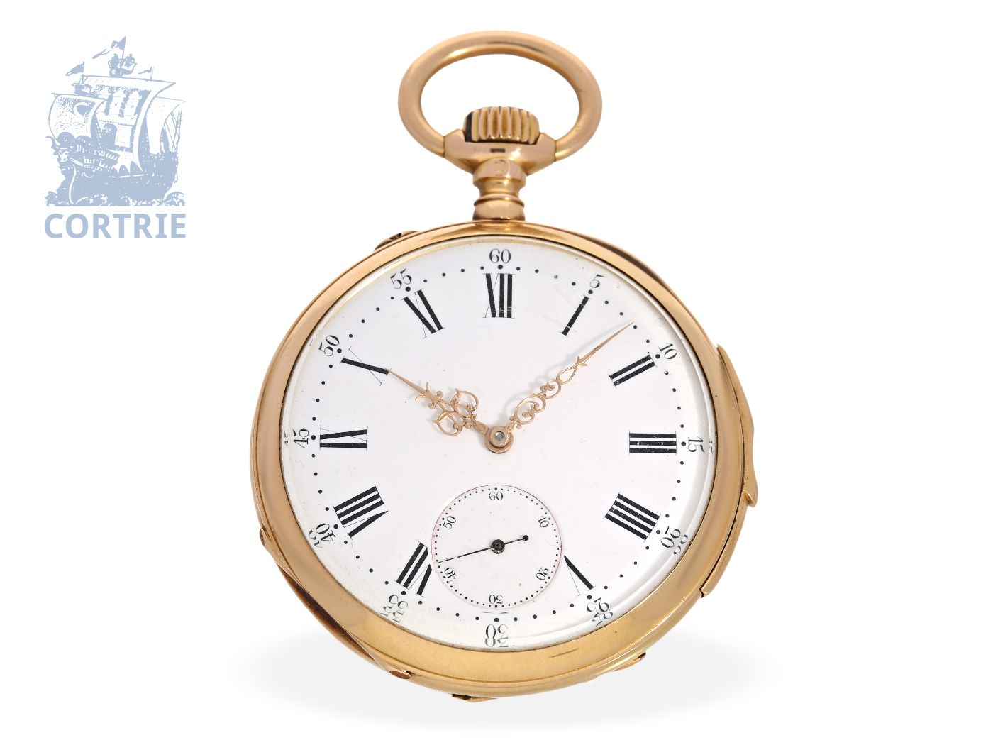 Pocket watch: very fine precision pocket watch repeater, prime quality DEMI CHRONOMÈTRE, Dubois & Leroy Le Locle ca. 1880-