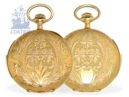 Pocket watch: very decorative Art Nouveau gold hunting case minute repeater, 18 K gold, Rueff Freres La Chaux-De-Fonds, Switzerland ca. 1910-