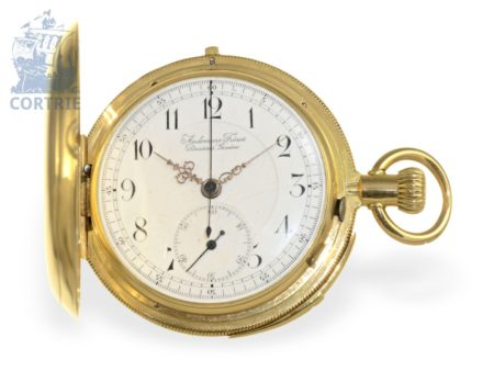 Pocket watch: high grade, heavy and early gold repeater hunting case watch with chronograph, Philippe Doret Locle ca. 1865-