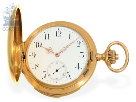 Pocket watch: heavy and very fine gold hunting case minute repeater, Switzerland ca. 1900-