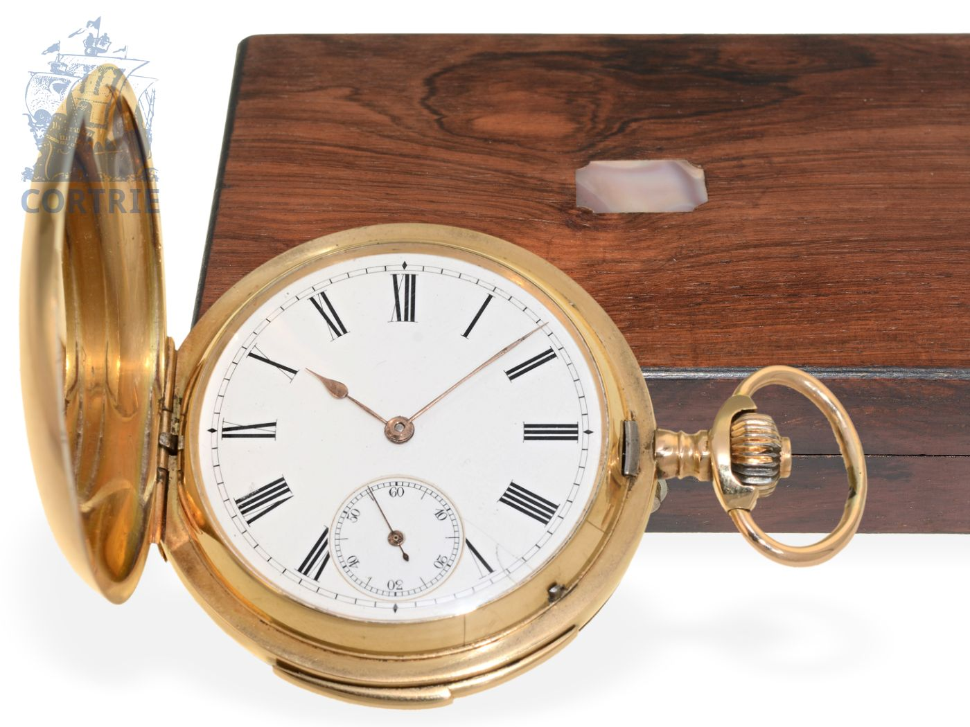 Pocket watch: high-class gold hunting case repeater, original box with nacre marquetry, S.Glashütte, ca. 1900-