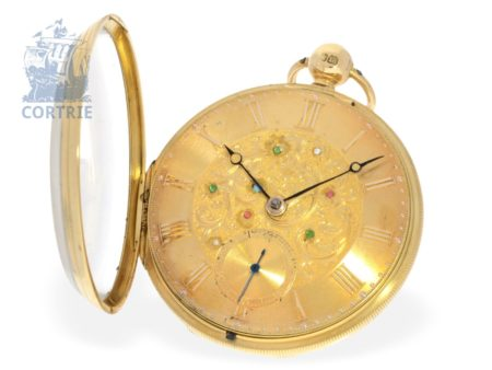 Pocket watch: interesting Irish pocket watch with jewels, high quality, William Gilbert Belfast no.932, hallmarks 1843-