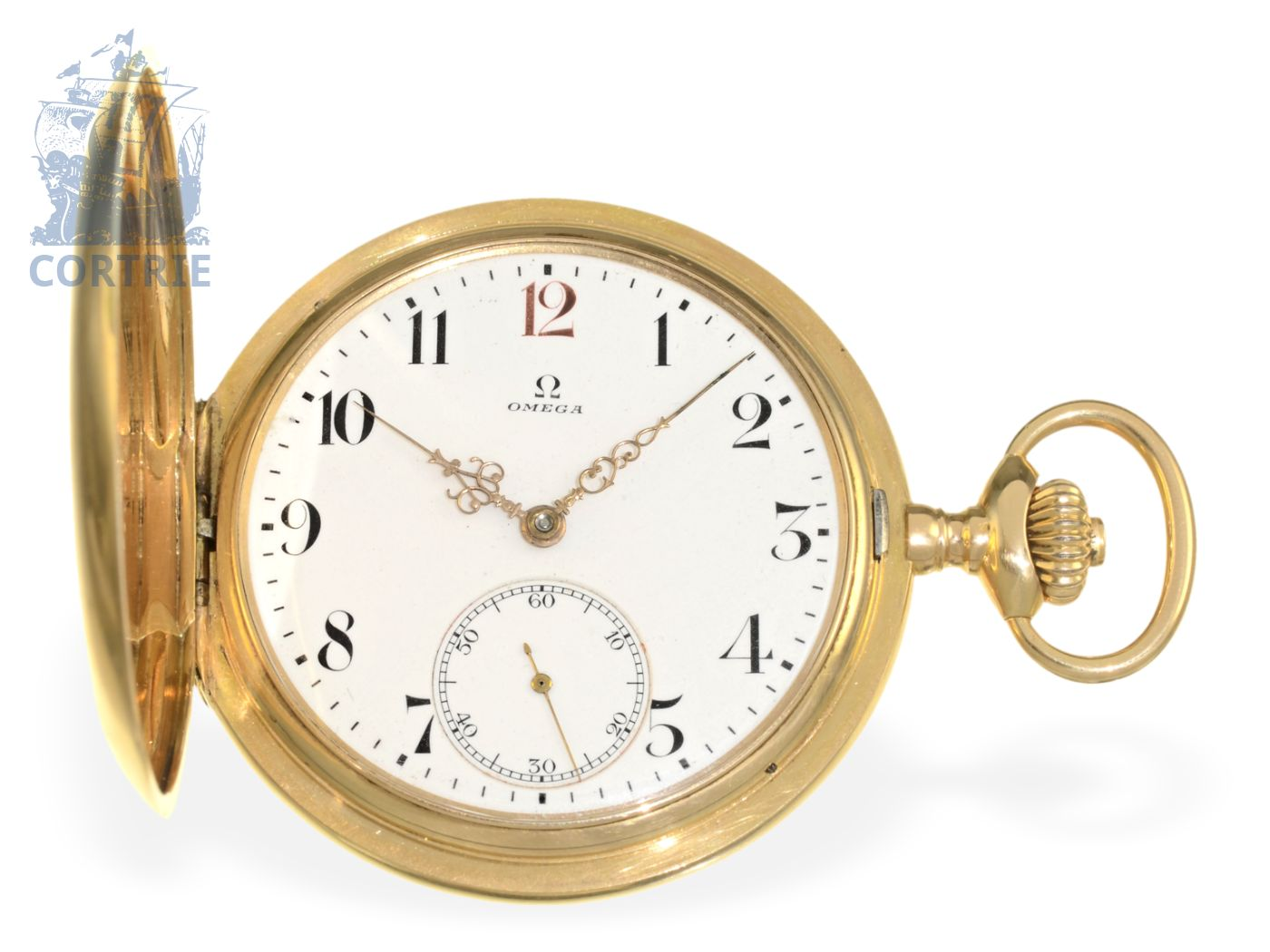 Pocket watch: heavy 18K pink gold hunting case watch by Omega, from nobleman's possession, ca. 1915-