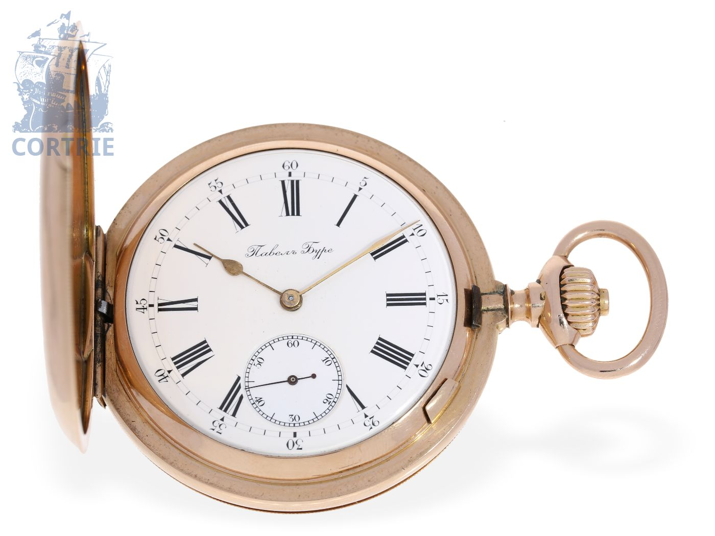Pocket watch: heavy pink gold Ankerchronometer, fine quality, Pavel Buhre, the Czar's watchmaker of the Court, ca. 1900-