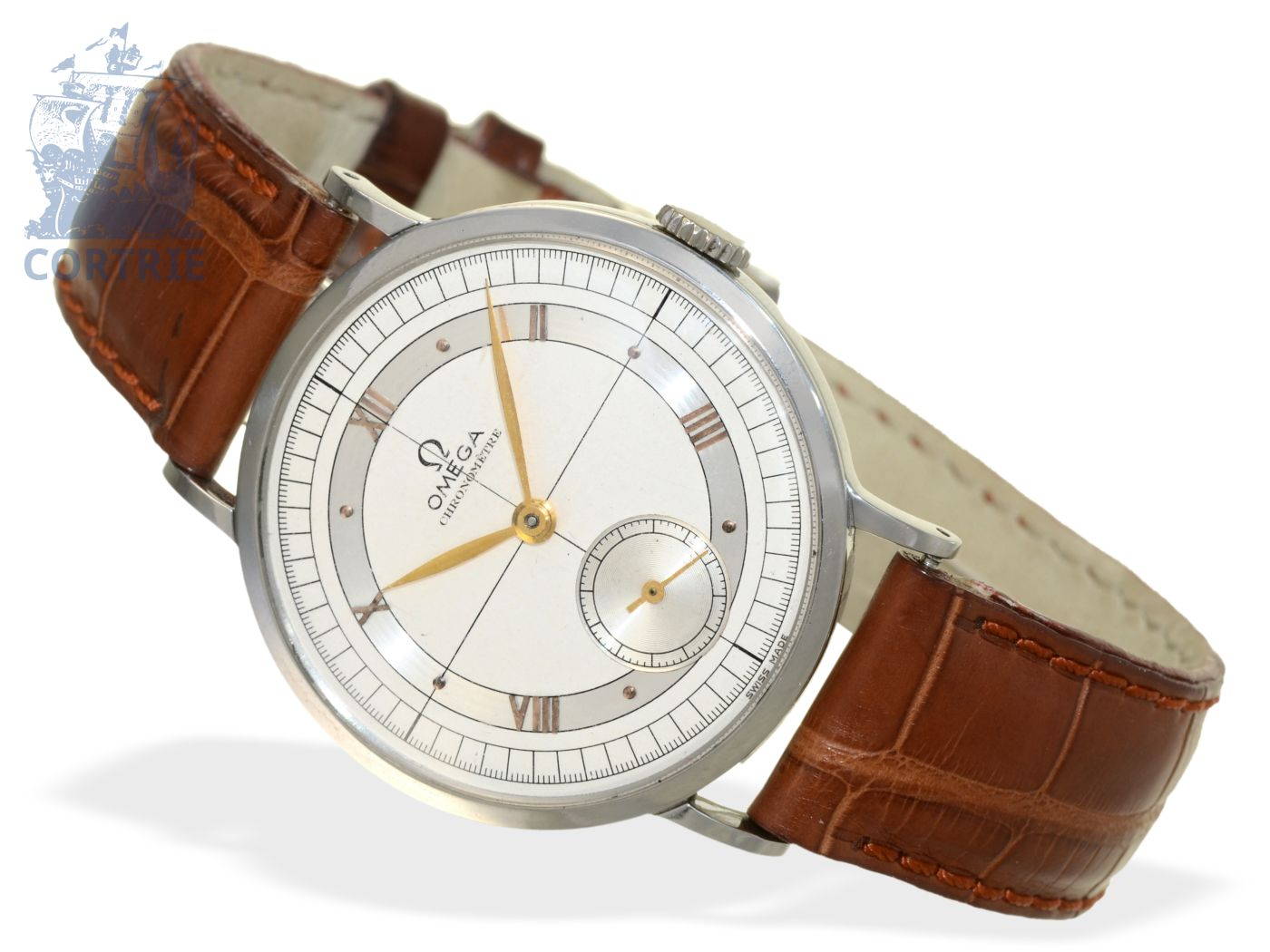 Wristwatch: very rare and big Omega chronometer, stainless steel, reference 2366, from 1946-