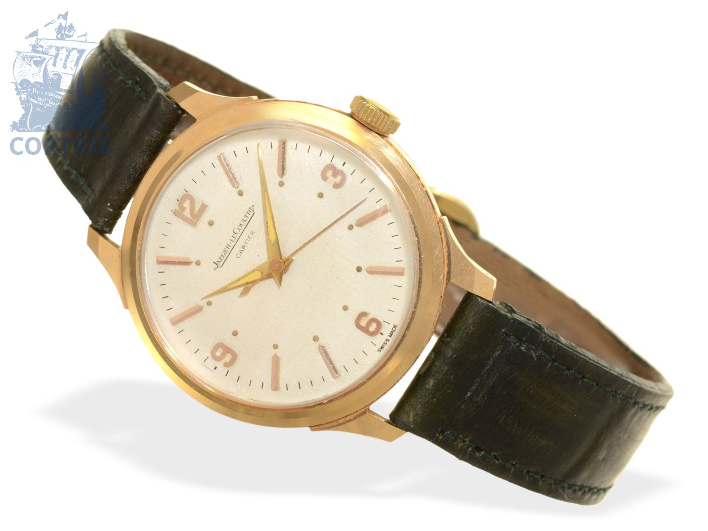 Wristwatch: extremely rare gentlemen's watch with center seconds, Jaeger Le Coultre/Cartier caliber P478 C, ca. 1950-