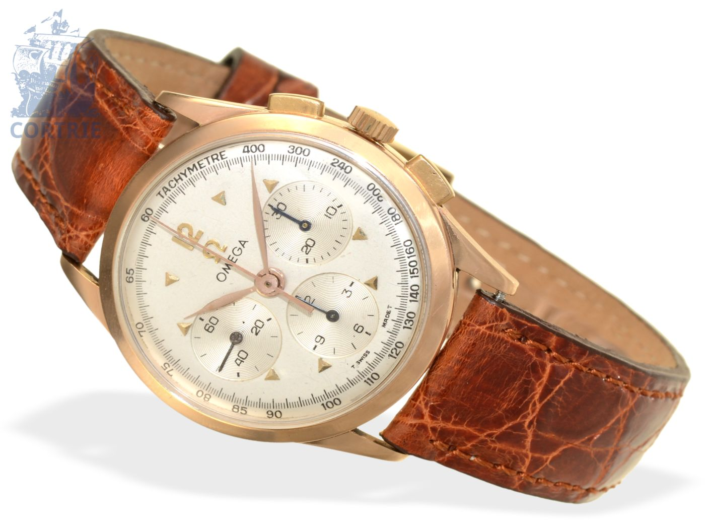 Wristwatch: very beautiful and rare Omega chronograph, pink gold, from 1959-