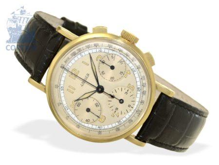 Wristwatch: big and rare 18 K gold chronograph, signed Jaeger, ca. 1940-