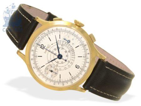 Wristwatch: big Eberhard telemeter chronograph, 18 K gold, ca. 1950-