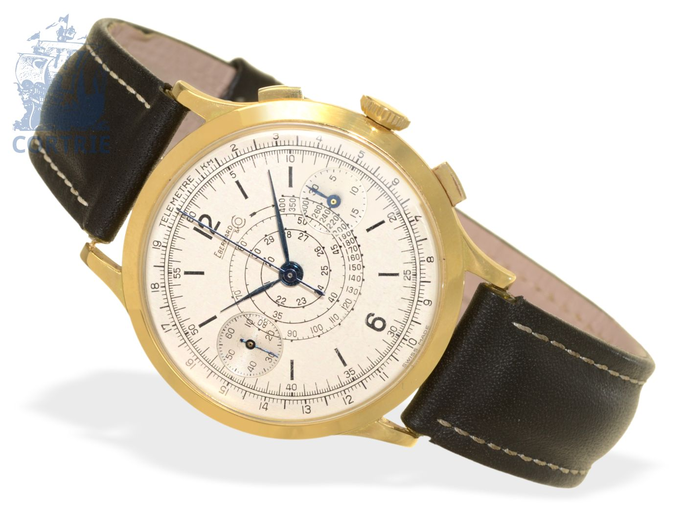 Wristwatch: big Eberhard telemeter chronograph, 18 K gold, ca. 1950-