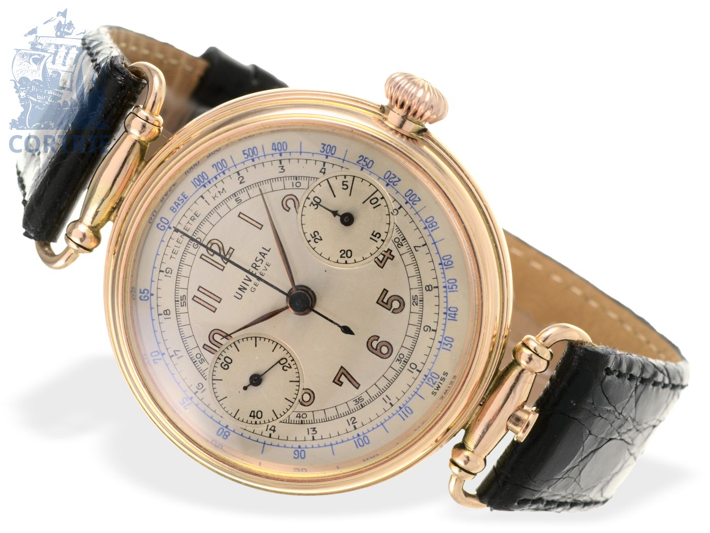 Wristwatch: very early and big chronograph, pink gold, Universal Geneve ca. 1925-