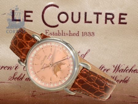 Wristwatch: very fine and rare Jaeger Le Coultre calendar watch with moon, original box and maintenance instructions-