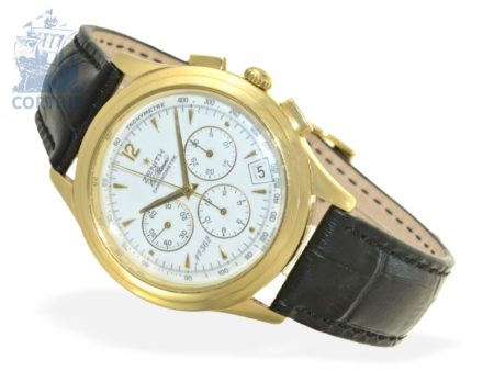 Wristwatch: high-grade big and limited 18 K gold chronograph Zenith El Primero, certified chronometer, 125th anniversary Zenith 1990, no. 362/500-
