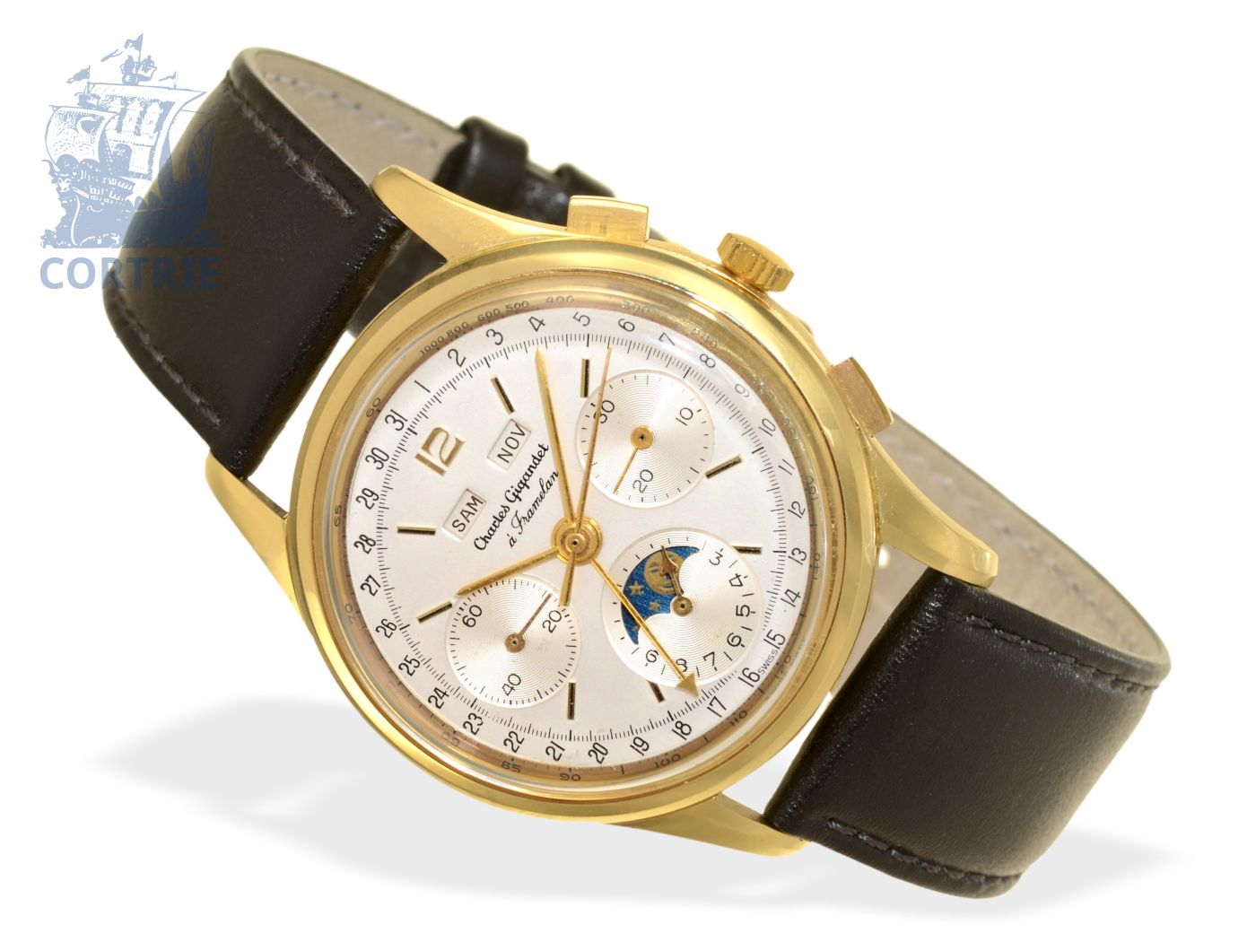 Wristwatch: high-grade 18 K gold chronograph with triple date and moon, Gigandet/Wakmann ca. 1965-