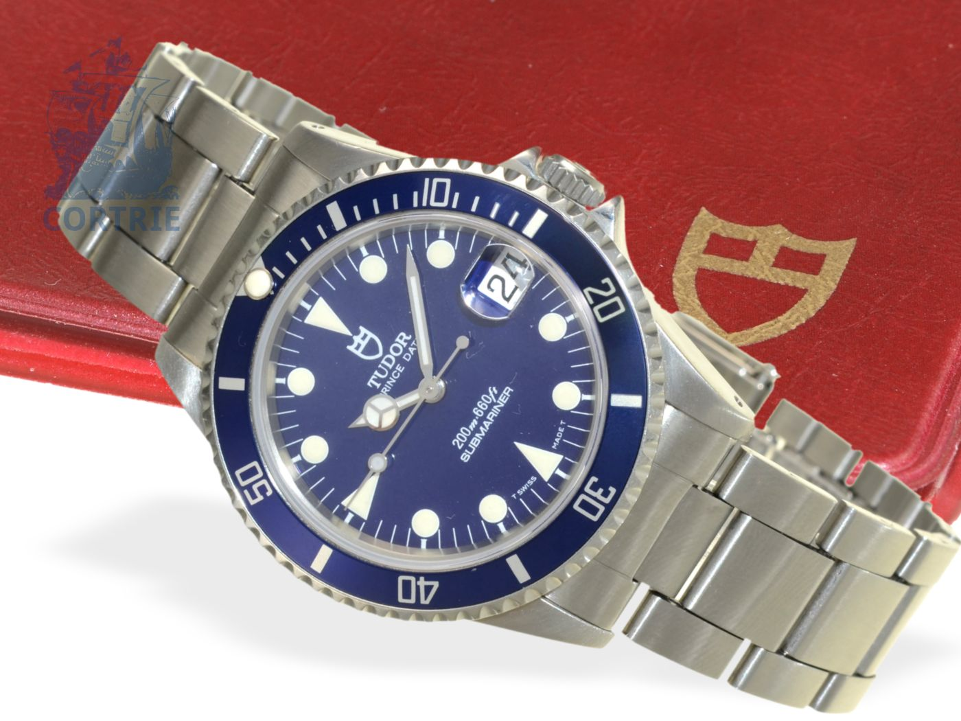 Wristwatch: vintage Tudor Prince Submariner Blue with original box and certificates, ref. 75190, from the 1980s-