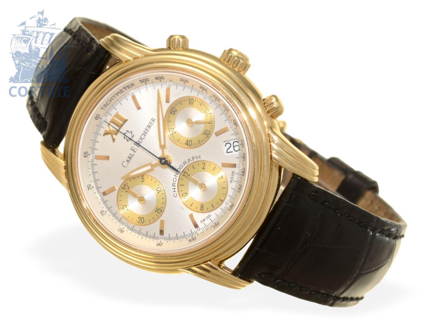 Wristwatch: luxurious automatic chronograph Carl F. Bucherer Archimedes, 18K pink gold, cal. 2894-2-