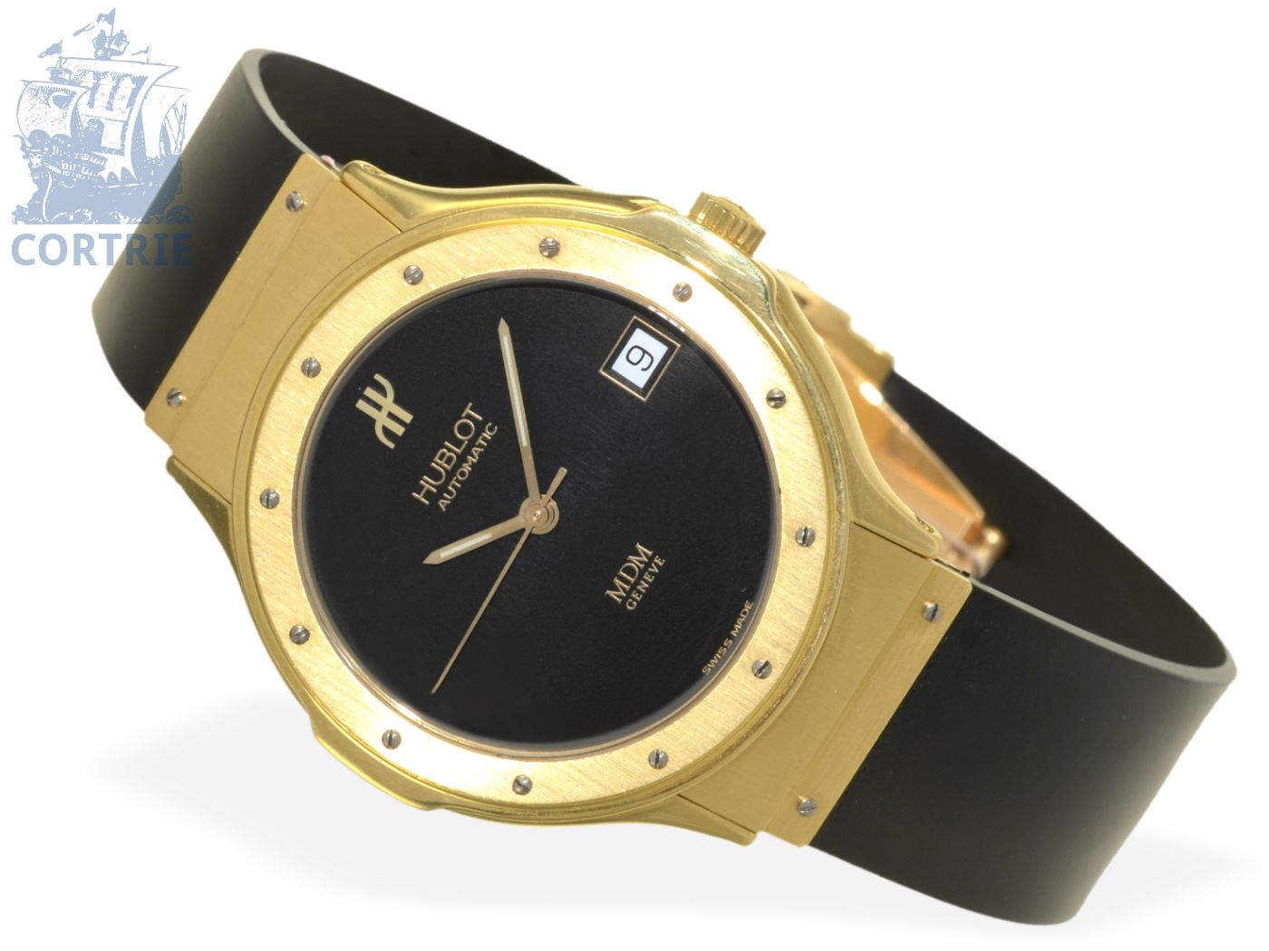 Wristwatch: classy gentlemen's watch Hublot MDM Automatic, 18K gold-