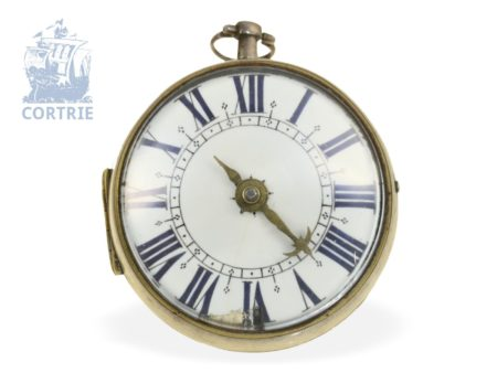 Pocket watch: early one-hand Oignon with central winding, Goubert a Dieppe ca. 1690-