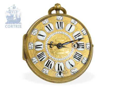 Pocket watch: very beautiful Oignon verge watch ca. 1720, Jacques Gloria à Rouen noted since 1696-