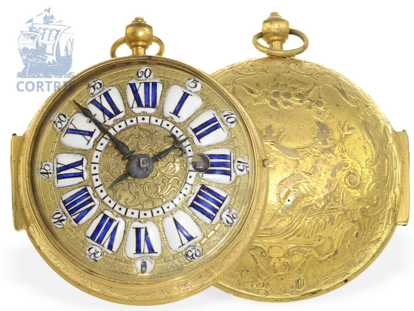 Pocket watch: extravagant Louis XV Oignon watch with relief case coronation scene, Jacques Panier Paris ca. 1715-