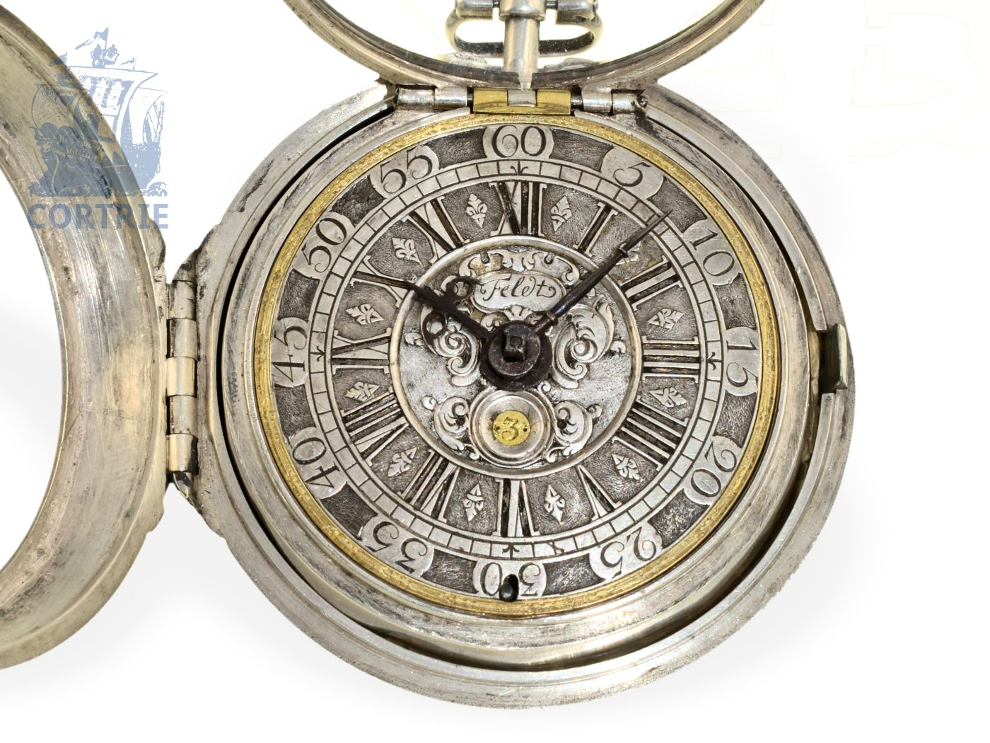 Pocket watch: big, heavy and early Hamburgian verge watch with date, Jeremias Feldt Hamburg, ca. 1690-