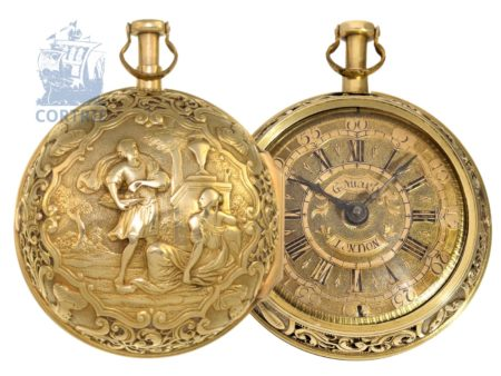 Pocket watch: exquisite and early Augsburgian 20 K gold paircase repoussé verge watch with rare 1/8 repeater, signed Johann Georg Nuarb ( Braun) London 1688-1730-