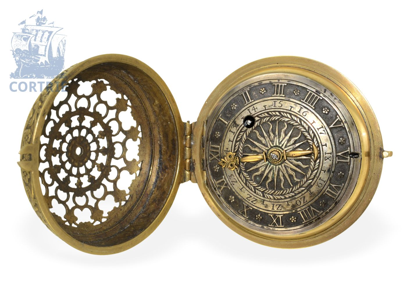 Pocket watch: extravagant and very early pocket watch with special foliot, probably 1580 and later-