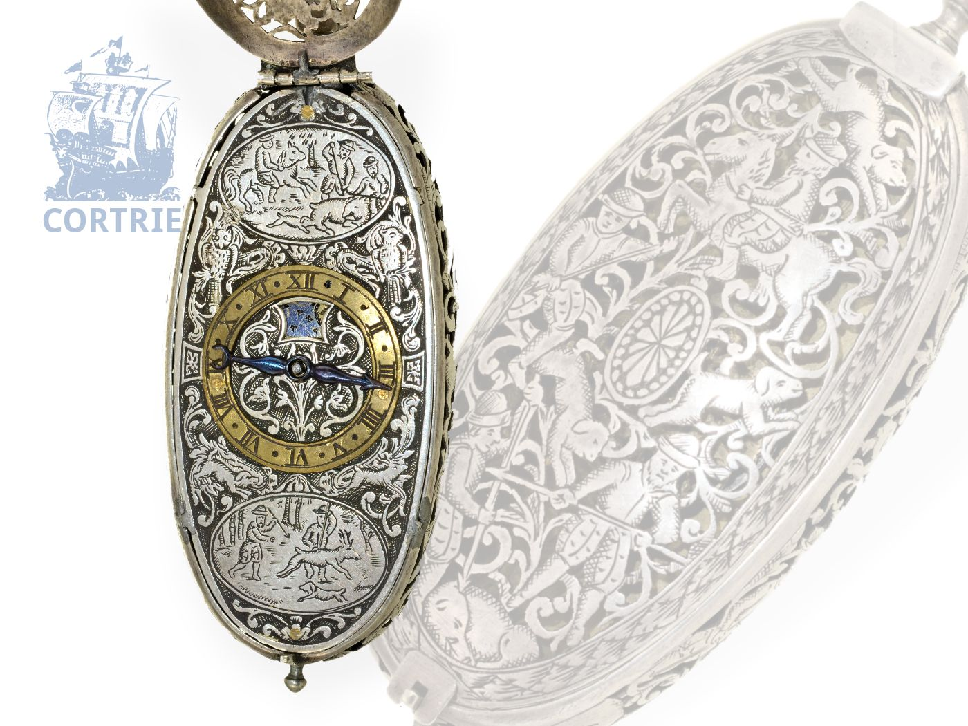 Pocket watch/pendant watch: extravagant and very big oval astronomical Renaissance style watch with original box, Jean Vallier a Lyon ca. 1680-