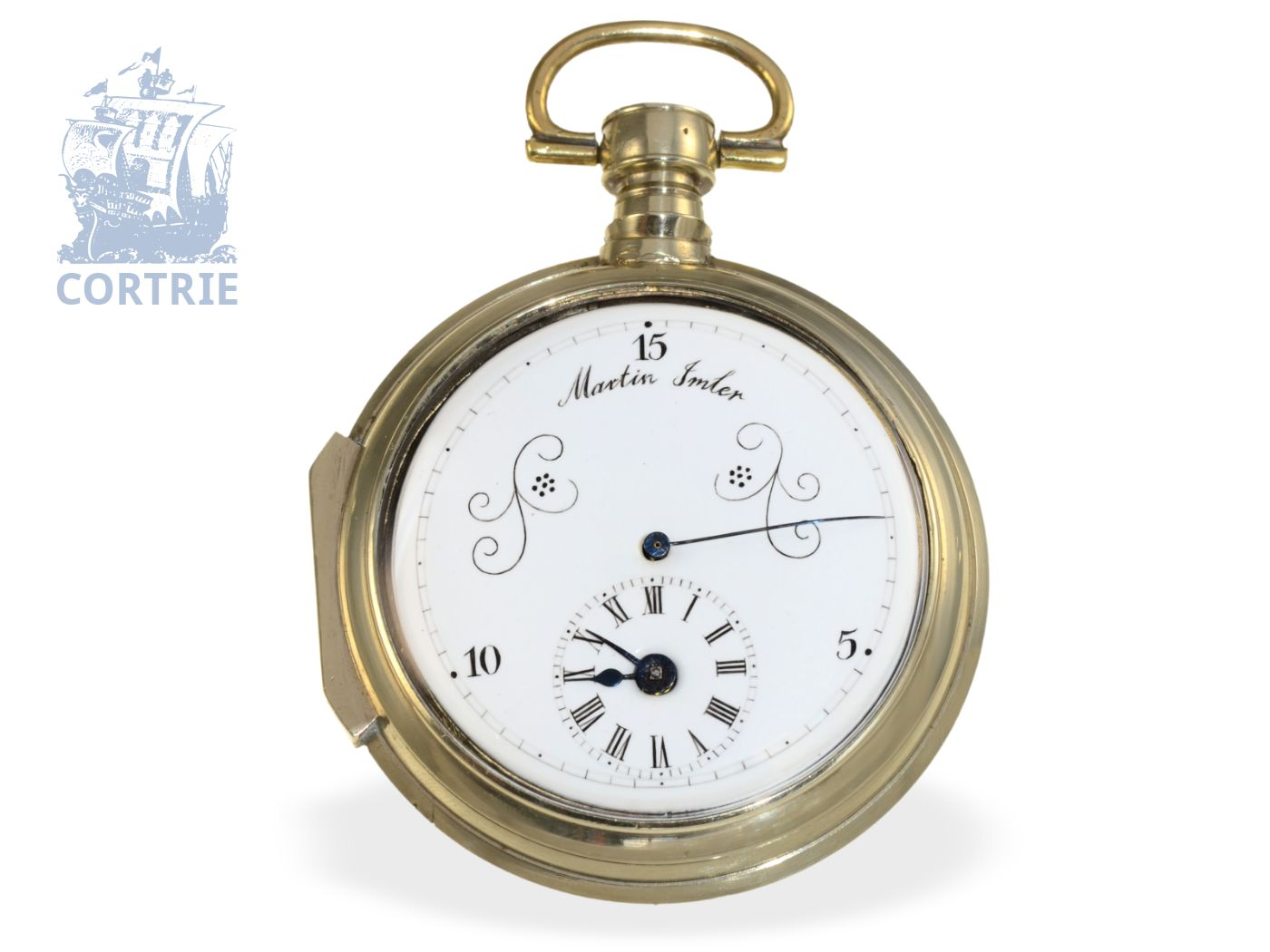 Pocket watch: extremely rare automatic German pocket watch with 15 seconds dial, signed Martin Imler, probably colleague of Joseph Maler Staufen-
