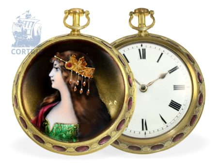 Pocket watch: extremely rare English paircase verge watch with finest enamel painting and jewels, for the Indian market ca. 1790-