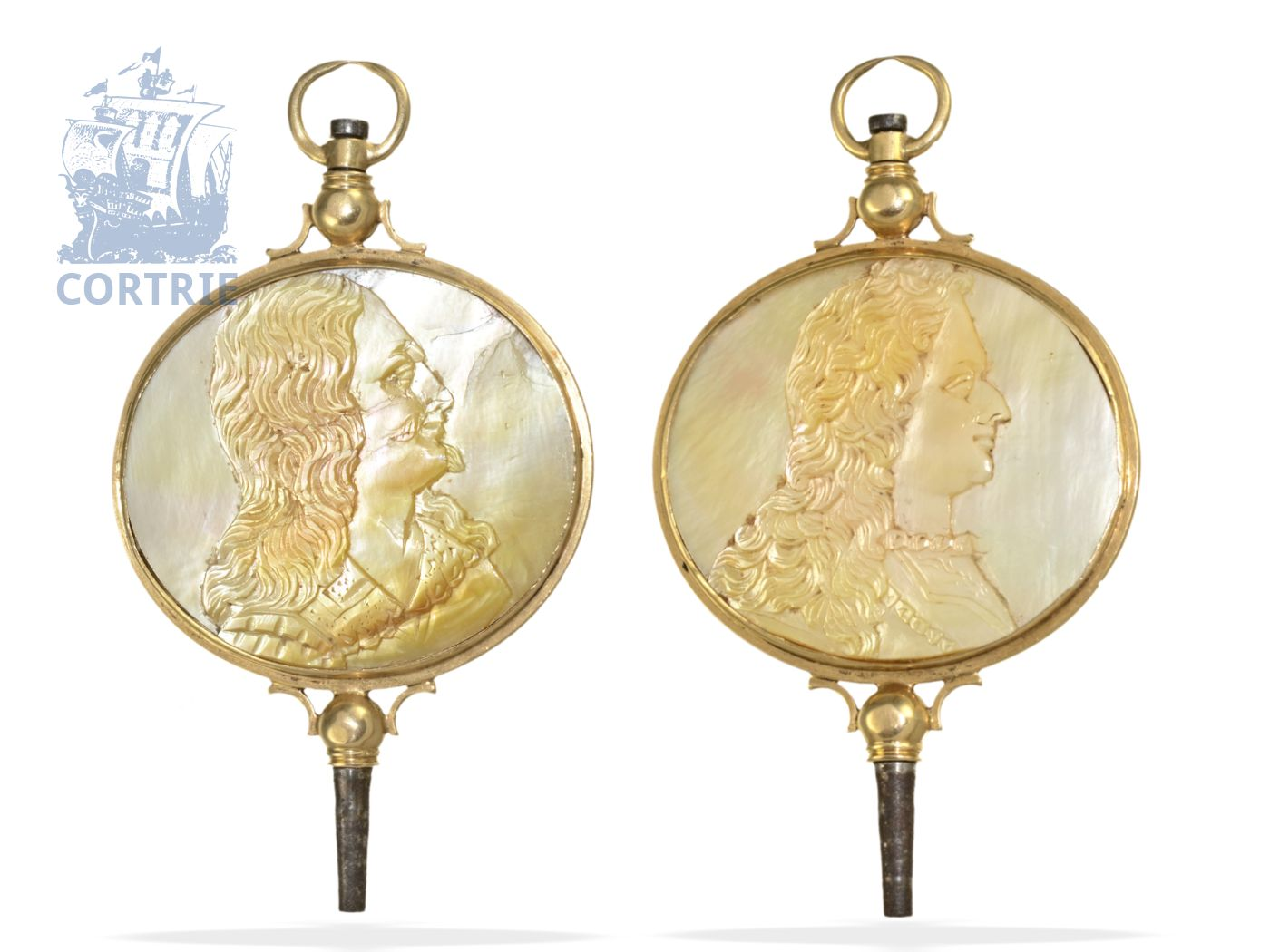 Watch key: very rare verge watch key with mother-of-pearl cameo on both sides, France ca. 1820-