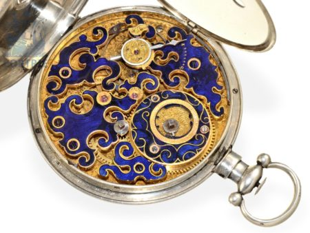 Pocket watch: rarity, extremely rare, big pocket watch for Chinese market, enameled Tixier movement by Pelaz, Fleurier ca. 1850-