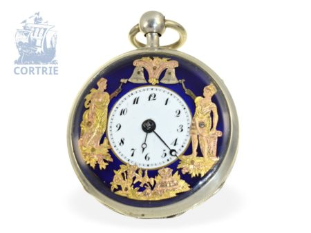 Pocket watch: verge watch repeater with figured automaton Jaquemart, signiert Breguet & Fils No.37973, France ca. 1820-
