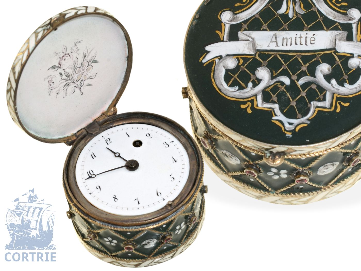 Pendant watch/form watch: extravagant and rare French enamel form watch Tambour ca. 1790-