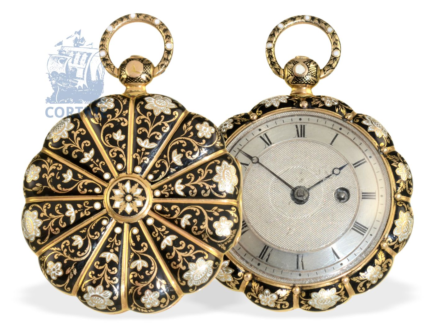 Pocket watch: extravagant gold/enamel watch, prime quality, attributed to Lépine, ca. 1830-