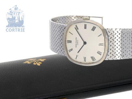 Wristwatch: heavy white gold Patek Philippe gentlemen's watch Ref. 3544 Cushion with original box, ca. 1970-