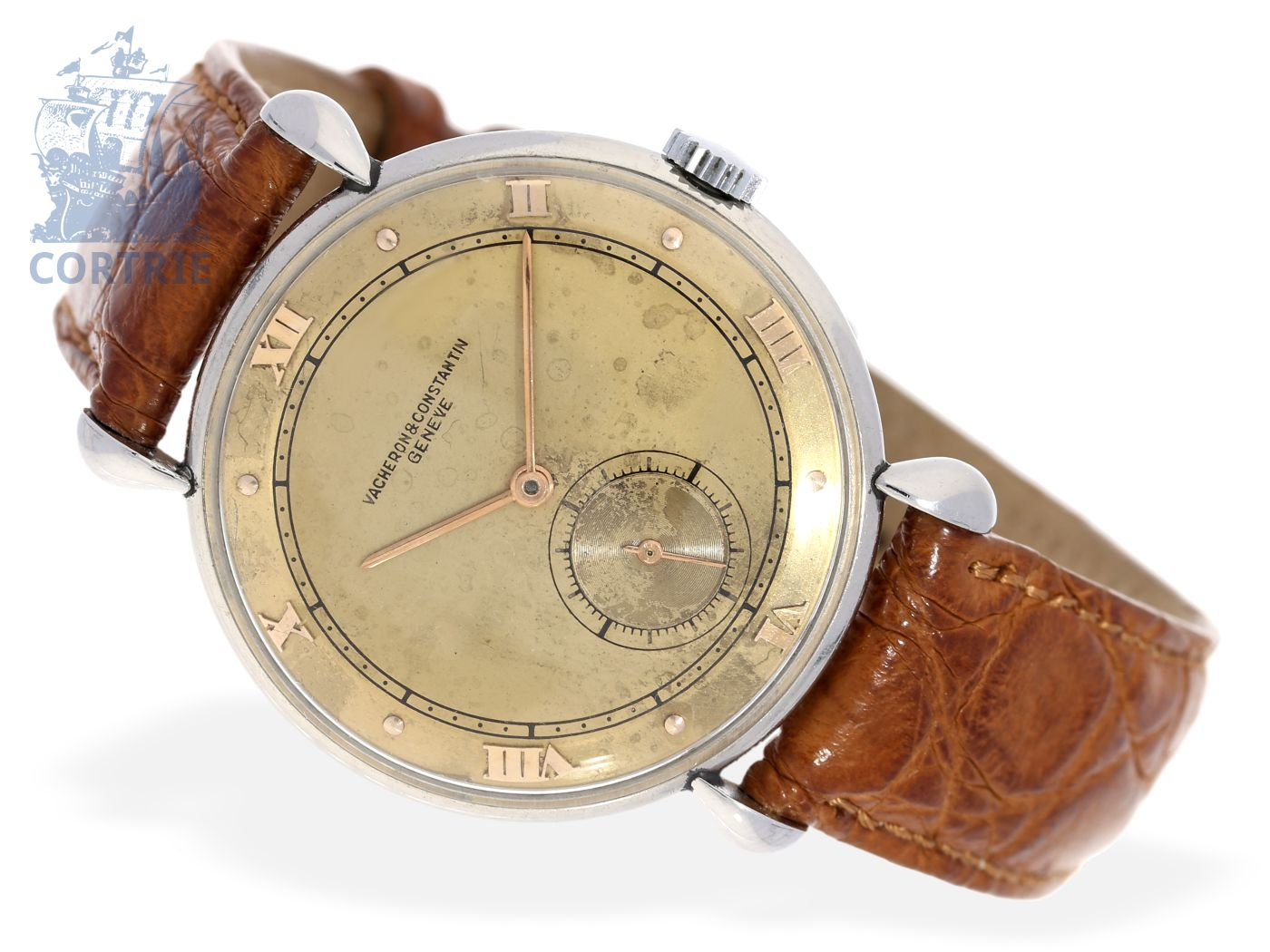Wristwatch: very rare and early Vacheron & Constantin stainless steel gentlemen's watch from 1943, Teardrop Lugs, with extract of the archives-