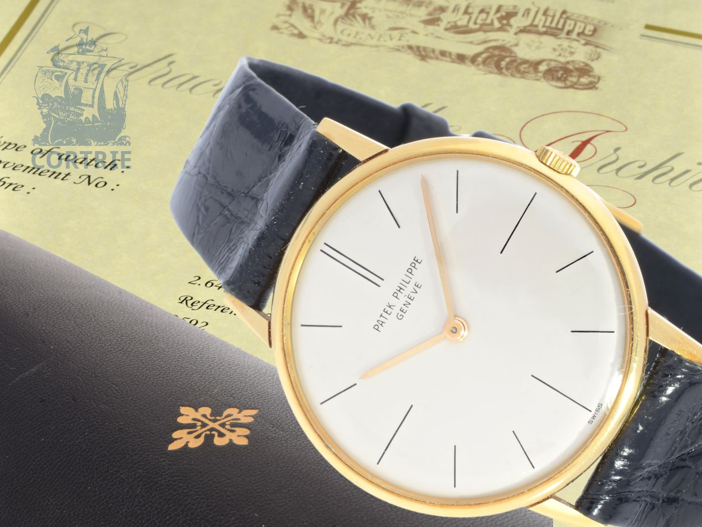 Wristwatch: elegant and flat Patek Philippe Calatrava ref. 2592, with extract of the archives and original box, Geneva 1965-