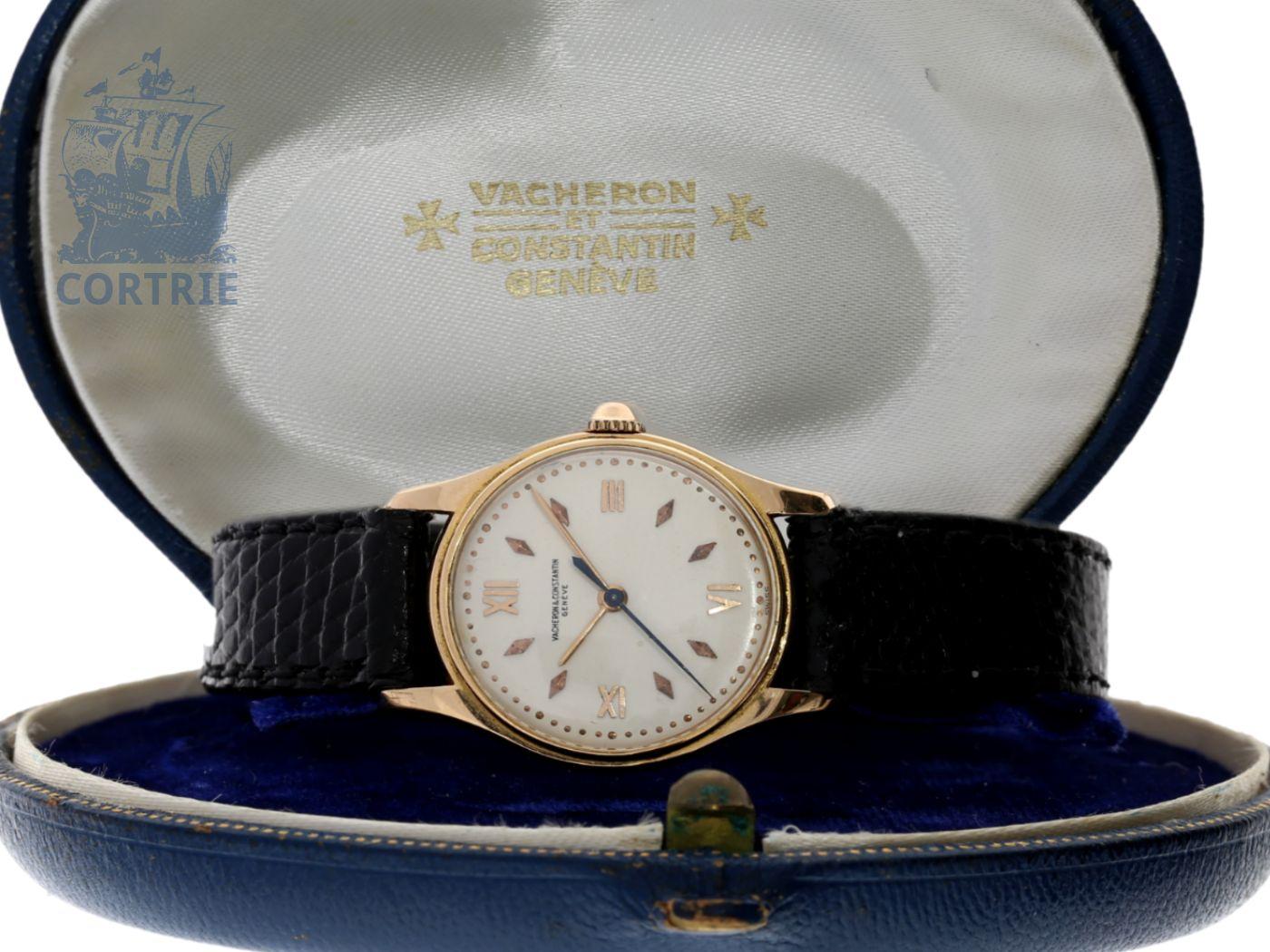 Wristwatch: very fine and rare vintage ladies watch, pink gold, center seconds, original box, Vacheron & Constantin Geneve 1950-