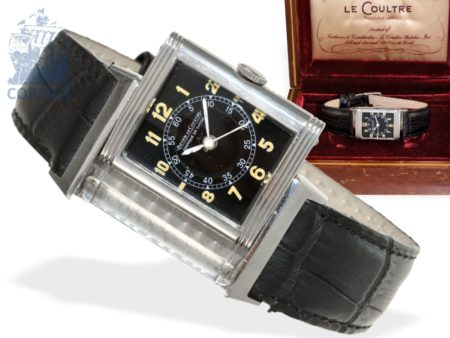 Wristwatch: rarity, very early Jaeger Le Coultre Reverso with center seconds, Art Deco from the 30s-