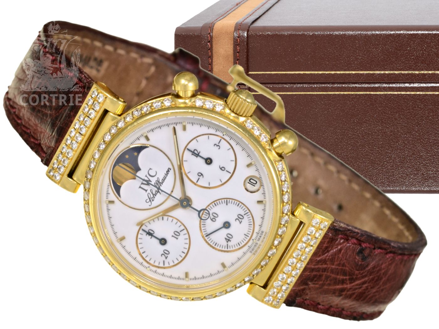 Wristwatch: luxurious and very rare ladies watch with diamonds, IWC Da Vinci chronograph with moon, original box and original certificates, original price 15,250 €-