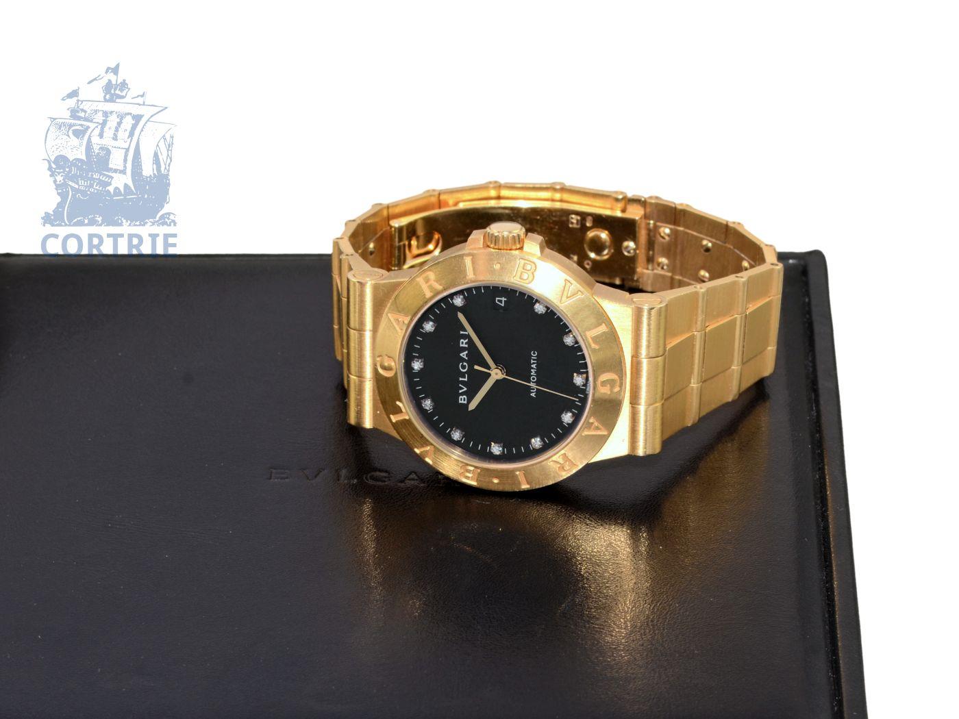Wristwatch: luxurious gentlemen's watch Bvlgari Diagono Automatic, gold, black diamond dial, original box-