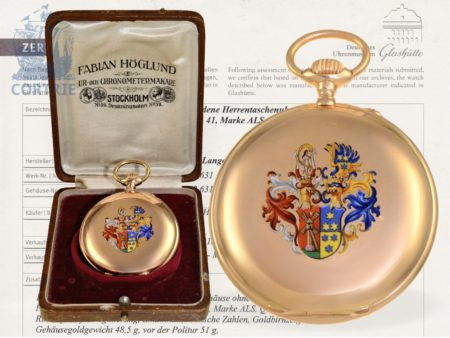 Pocket watch: unique Lange & Söhne Deutsche Glashütte pink gold/enamel pocket watch, quality 1A, formerly nobleman's possession, with extract of the archives-