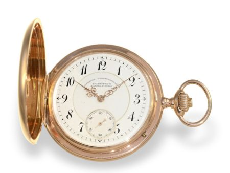 Pocket watch: pink gold huntingcase watch A. Lange & Söhne Glashütte no. 37714 from 1897, with extract of the archives-