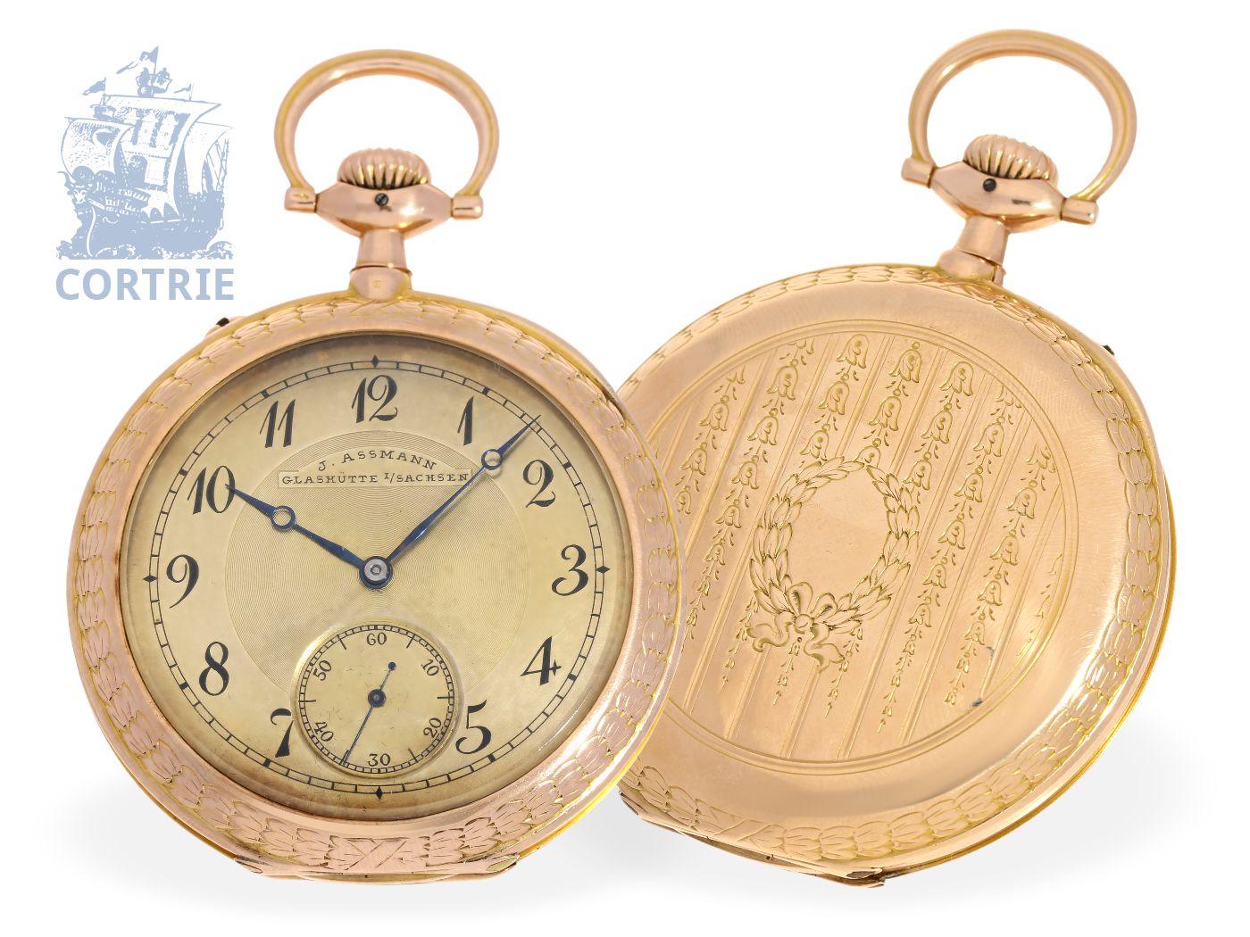 Pocket watch: big Glashütte precision watch with unusual case, Julius Assmann Glashütte ca. 1920-