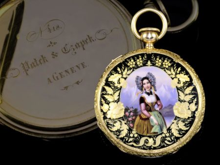 Pocket watch: Very rare Patek Philippe gold/enamel gentlemen's watch, Patek & Czapek No. 418, probably the earliest Patek Philippe enamel watch with crown winding by Louis Audemars, Geneva 1841-