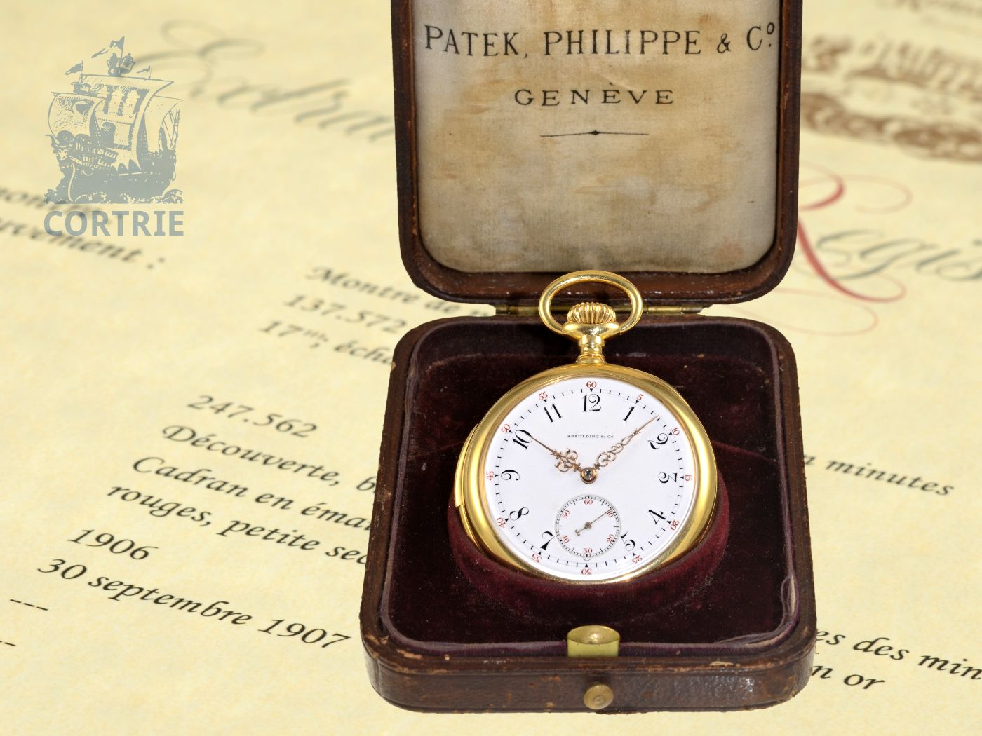 Pocket watch: very fine Patek Philippe minute repeater, extract of the archive, original box, Geneva 1906-